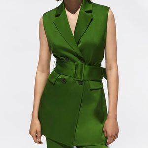 Zara Green Satin Belt Vest
